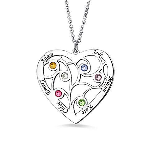 Personalisierte Herz-Familienstammbaum Birthstone-Halskette, die 6 Namen graviert - 925 Sterlingsilber-Gold Rose Vergoldung Namensschild