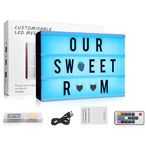 7 Farben wechselnde Kino-Lichtbox mit 120 Buchstaben, A4 Größe, RGB LED Nachrichten-Kinoschild mit drahtloser Fernbedienung