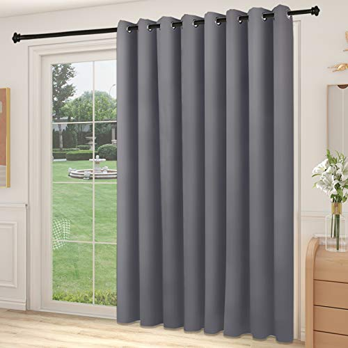YIUMULA Sliding Glass Door Blinds Vertical, Extra Wide Slider Door Blackout Curtain Panel, Room Darkening Window Treatment Thermal Insulated Patio Drapes (1 Panel, Grey, 100W x 84L)