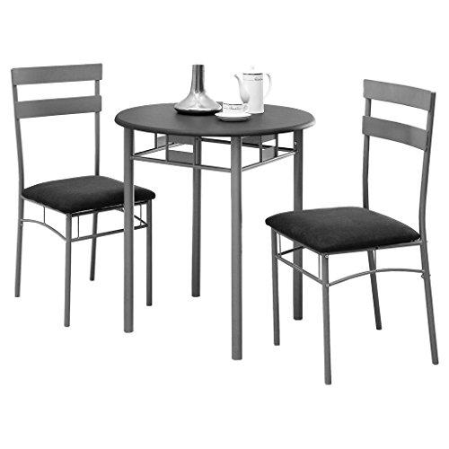 Monarch Specialties Black and Silver Metal Bistro Dining Set, 3-Piece