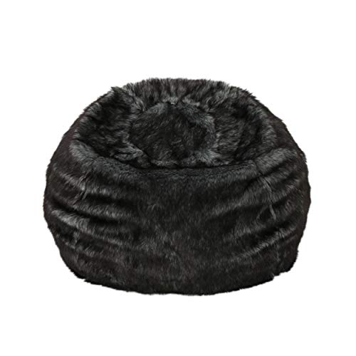 Black and White Streak Faux Fur Bean Bag