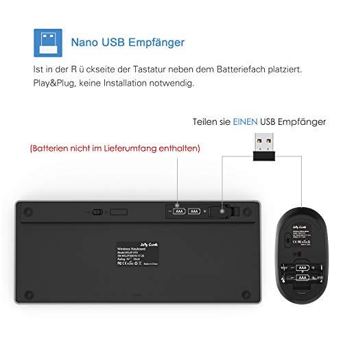 Jelly Comb Tastatur und Maus Set, 2.4G Kabellose Dünne Tastatur mit Funkmaus Kombi für Laptop, PC und Smart TV, Deutsches Layout QWERTZ, Schwarz und Silber