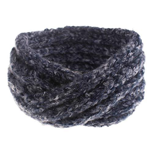 Jamicy (TM) Damen Mädchen Stricken Stirnbänder Winter Geflochten Stirnband Ohrwärmer Kopf Wraps Frauen Dicke Wolle Kreuz Haarband Haarbänder Haarsets, Blau - navy - Größe: Einheitsgröße