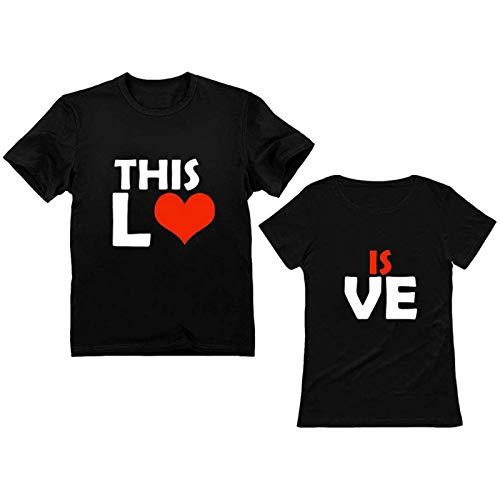 t Shirt Damen Shirt Damen T-Shirts Frauen Paare Liebhaber Valentinstag Kurzarm Liebesbrief Print Tops (XXL,8Damen-Schwarz)
