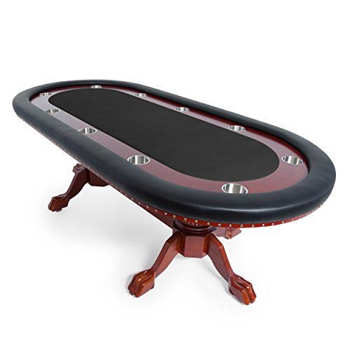 BBO Poker Rockwell Poker Table for 10 Players with Black Felt Playing Surface, 94 x 44-Inch Oval