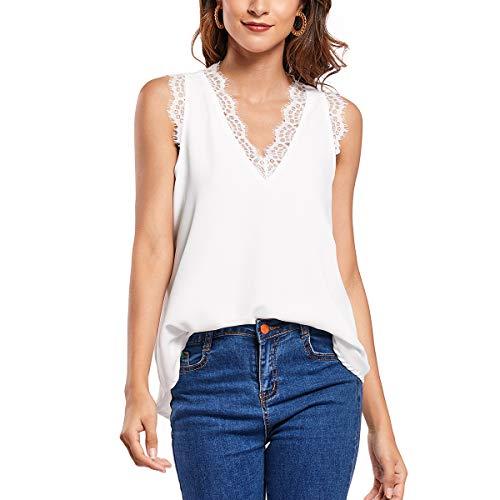 Carcos Mujer Chaleco de Encaje, Camiseta Cuello de Pico Camisa sin Mangas Correas Anchas Camisola sin Mangas Verano Informal Suelto Blanco M
