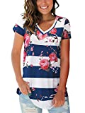 Juniors Tops Short Sleeve Nursing Summer Slim T-Shirts Clothing Stripe Blue L