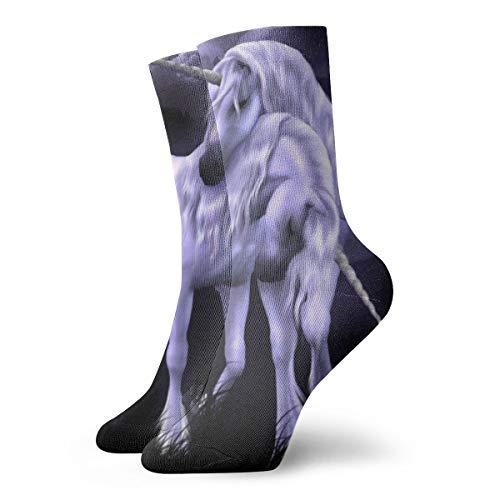 BJAMAJ Unisex Sokken Paars Eenhoorn Behang Interessant Polyester Crew Sokken Volwassene Sokken Katoen