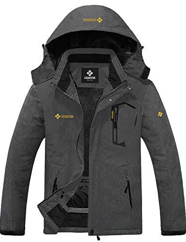 GEMYSE wasserdichte Skijacke für Herren Winddichte Fleece Outdoor-Winterjacke mit Kapuze (Graphitgrau,M)