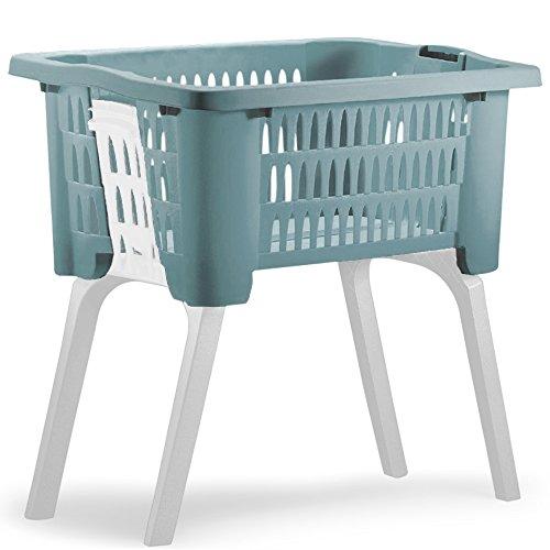 Wäschekorb mit ausklappbaren Beinen aus Kunststoff Wäschesammler Tragegriffe arbeitserleichternd 38 Liter 60x40x58cm Blau