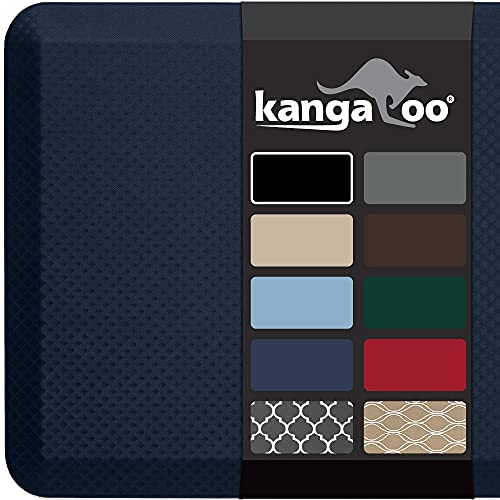 Kangaroo 3/4 Inch Thick Superior Cushion, Stain Resistant Kitchen Rug and Anti Fatigue Cushioned Foam Comfort Floor Padding Rugs, Office Stand Up Desk Mats, Washable Standing Decor Mat, 39x20, Navy