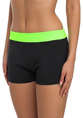 Merry Style Costume A Pantaloncino Nuoto Donna S1R1 (Nero/Verde Neon, 40)