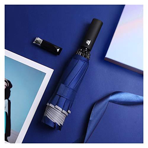 SSBH Espejo de vanidad Paraguas inverso automático LED Luminoso a Prueba de Viento 3 Negocio Plegable Paraguas Fuerte Rain Hombres Coche 10k sombrilla compensación (Color : Automatic Blue)
