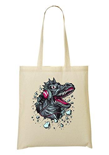 Godzilla Listening Music Earphones Tragetasche Einkaufstasche