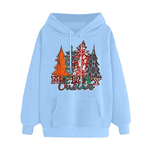 GIFED Christmas Hoodies for Women, Casual Crewneck Long Sleeve Sweatshirt Pullover, for coming Fall/Autumn/Winter/Christmas, Womens Xmas Ladies Trendy Plus Size Christmas Sweatshirts Shirts Tops