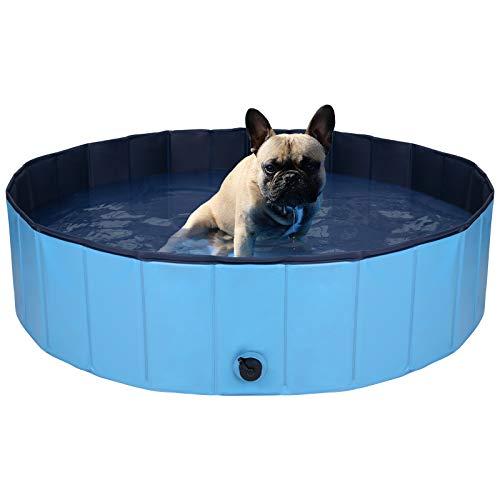 MR.COVER Hundepool, 160/120/ 80 cm für große oder kleine Hunde, Faltbares Planschbecken Hunde, Stabile Hundebadewanne Doggy