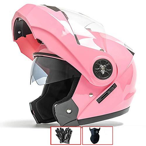 LALEO Casco Moto Modular Integral Casco Moto Abierto, para Hombres y Mujeres, Doble Visera, ECE Certificado Rojo, Rosa, Plata (54-60cm),Pink