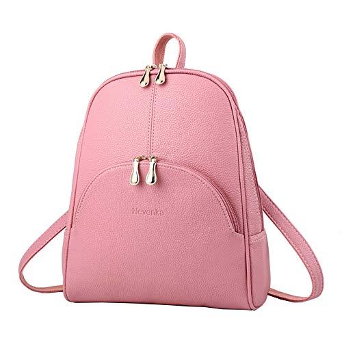 Nevenka Rucksack Damen Cityrucksack Daypack Tagesrucksack PU Leder Zweiwege Reißverschluss Elegantes Design (Pink)