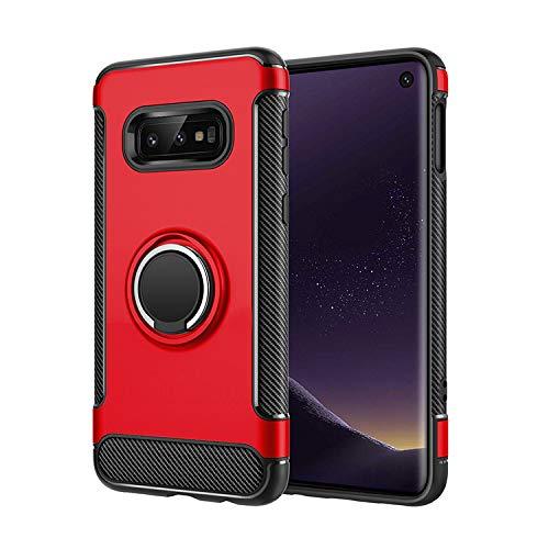 Compatibel met hoes Samsung Galaxy S10 E telefoonhoes, 360 graden draaibaar, ringhouder, harde bescherming, armleuning, magnetische autohouder, beschermhoes voor Samsung Galaxy S10 E telefoonhoesjes rood