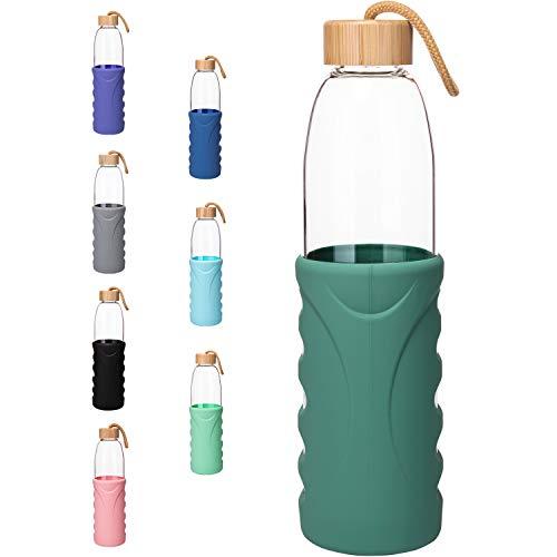 Life4u Botella de Agua de Cristal de Borosilicato de con Funda de Silicona Sin BPA 1000 ml Verde Oscuro