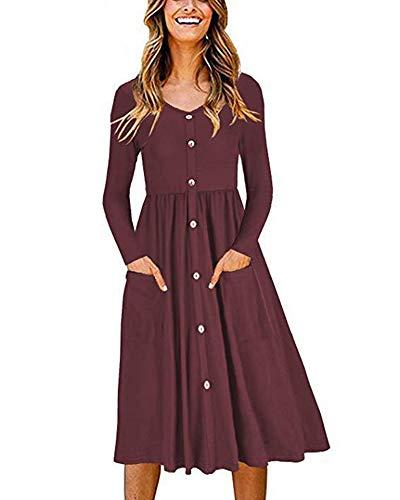 SLYZ Damen Herbst Einfarbig Rundhalsausschnitt Langarm Tasche Taille Knopf Kleid Frauen
