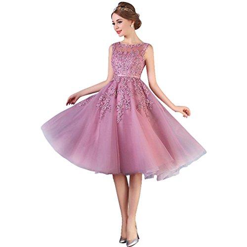 Babyonline Damen Rosa Perlstickerei Spitze Applique Tüll Schärpe/Band Abendkleid Cocktailkleid, Altrosa, 40