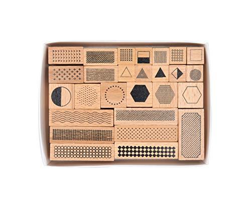 Cliocoo 27pcs Shapes Lines Wood Rubber Stamp Set M-11