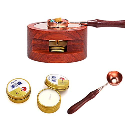 Wax Seal Warmer Melting Kit,Wax Beads Melting Furnace Tool with Melting Spoon and White Candles for Arts Crafts Wax Seal Stamp