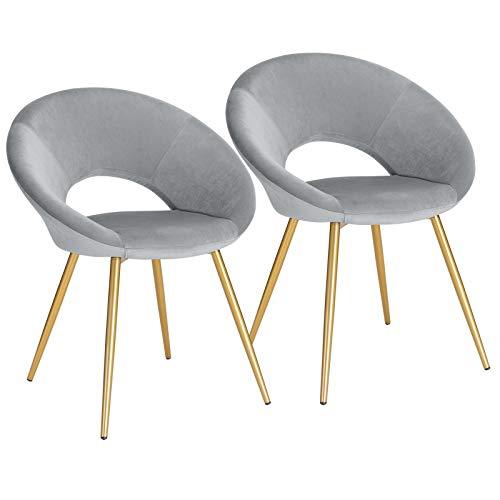WOLTU® Esszimmerstühle BH230hgr-2 2er Set Küchenstuhl Polsterstuhl Wohnzimmerstuhl Sessel, Sitzfläche aus Samt, Metallbeine, Gold+Hellgrau
