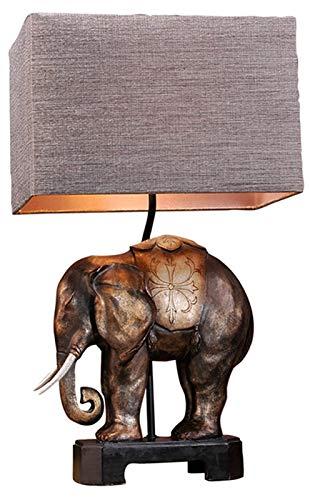Resina elefante lámpara de mesa natural, dormitorio Mesita de luz de la lámpara, el sudeste de la decoración del estilo asiático, Estudio Sala de estar Decoración lámpara de escritorio