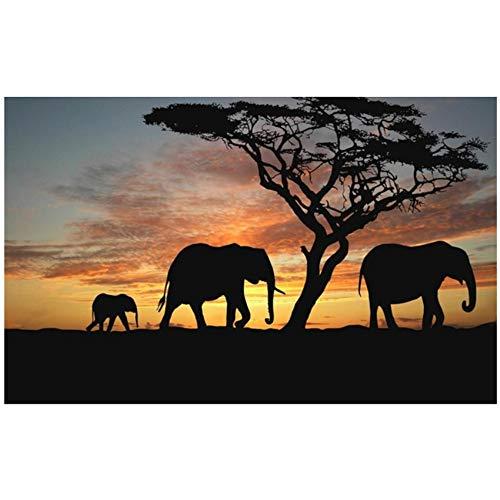 """HSFFBHFBH Arte de la Pared Cuadro Lienzo Pintura Paisaje de la Sabana Africana HD Imprimir Elefante Cartel Sala de Estar Decoración para el hogar 60x90cm (23.6""""x35.4) Sin Marco"""