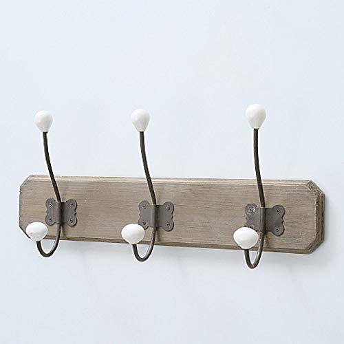 CasaJame Maison Meubles Entrée Rangements Décoration Accessoires Patère Portemanteaux avec 3 Crochets Muraux Style Vintage Fer Bois 10x48x21cm