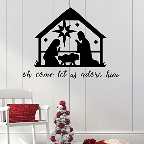 Nativity Christmas Decoration | Manger Scene with Oh Come Let Us Adore Him Quote | Christian Holiday Vinyl Wall Decal for Living Room, Bedroom, Church