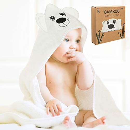 Baby Hooded Towel with Bonus Washcloth - Ultra Soft and Super Absorbent Toddler Hooded Bath Towel with Cute Bear Face Design