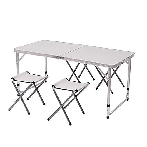 Mesas, mesas de camping, mesa plegable al aire libre, mesa plegable mesa de comedor plegable portátil con 4 sillas en un conjunto, mesa de picnic plegable interior al aire libre para picnic, fiesta, c