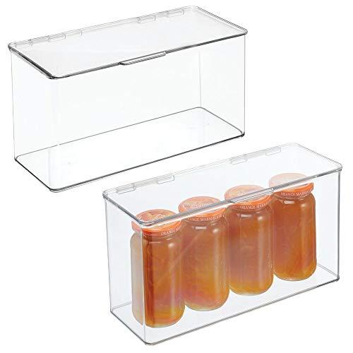 mDesign Scatole con coperchio per frigorifero e cucina – Organizer portaoggetti per ripiani e dispense – Scatola in plastica ideale per tè, caffè, snack e cibi confezionati – Set da 2 – trasparente