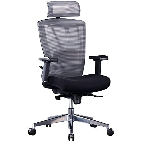 Ergonomischer Bürostuhl mit Netz-Rückenlehne, Kopfstütze, Sitzschiene & Lordosenstütze | bis 150kg belastbar | Contract 24/7 | Grau