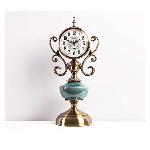 hongbanlemp Reloj Sobremesa American Chimenea Mesa Reloj Ligero Lujo Cerámica Cerámica Reloj Reloj Sala Sala Decoración Mesa Adornos Reloj Retro Silent Reloj Escritorio Reloj