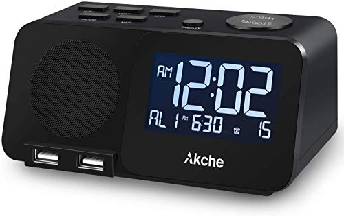 Akche Alarm Clocks for Bedrooms Night Light Digital Alarm Clock with FM RadioAdjustable VolumeDimmers with ThreeLevel Intensity Two USB Charging PortTwo Alarm SettingWhite Digital Display