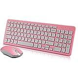 ONLYONE1 Packs de Teclado y ratón Teclado Inalámbrico Mouse Set 2.4G Notebook |Oficina |Juego |Teclado De Escritorio Rosa
