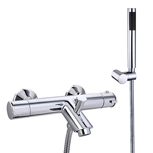 Conjunto de ducha Hapilife, con grifería cromada termostática y alcachofa cilíndrica, para ducha y baño
