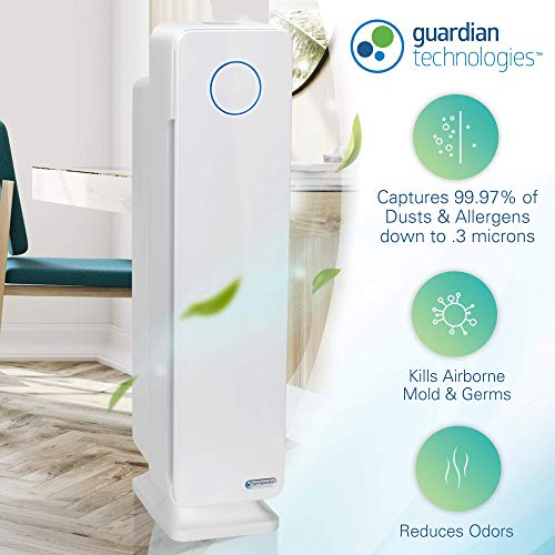 GermGuardian AC5350W 28-inch 4-in-1 True HEPA Filter Air Purifier for Homes, Large Rooms | UV-C Light Kills Germs | Filters Allergens, Smoke, Dust, Dander, Pollen & Odors | 5-Yr Warranty | White
