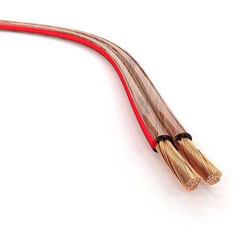 KabelDirekt 30m Cable de Altavoces, (2x2,5mm² de cobre libre oxigeno (OFC), transparente con indicación de polaridad, para el mejor sonido posible de su sistema de música), PRO Series