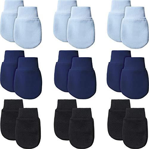 9 Paare Neugeborene Fäustlinge Baby Säugling Handschuhe Kein Kratzer Handschuhe Unisex Baumwolle Handschuhe für 0-6 Monate Baby Jungen Mädchen (Hellblau, Marineblau, Schwarz)