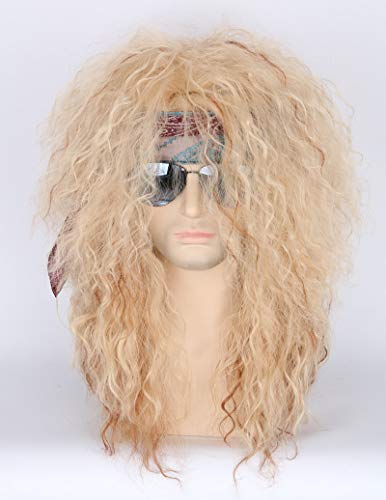 Toposplay 80s Costume Wigs for Men and Women Rockstar Wig Halloween Blonde Curly Afro Wig
