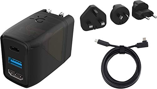 Genki Covert Dock - Base de TV y Cargador Portátil para Nintendo Switch, Puerto USB-C, USB-A y HDMI, Incluye 3 Adaptadores Internacionales