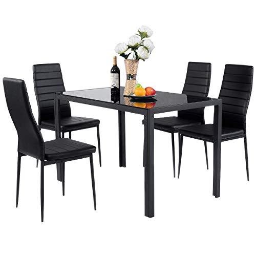 BOJU Glass Dining Table and Chairs Black Set of 4 Faux Leather Kitchen Furniture 4 Chairs High Back Glass Tabletop Metal Frame Table (1 Table 4 Chairs)