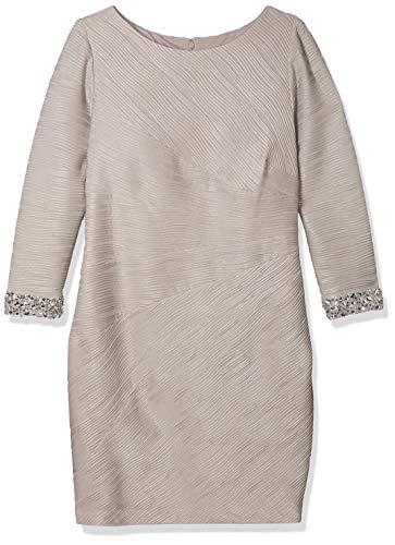Eliza J womensEJ6W2154Womens Long Sleeve Sheath with Beaded Cuff Detail Long-Sleeve Dress - Beige - 22W