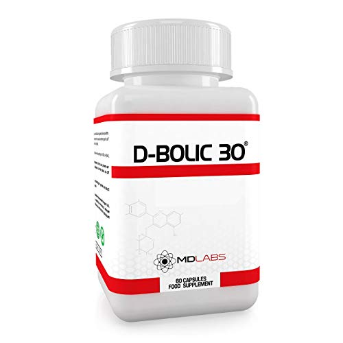 MD Labs D-BOLIC 30 - Legal Bodybuilding Muscle Supplement - Strength Booster – Optimal Growth & Testosterone – 1 Month Supply - 60 Capsules - UK Manufactured