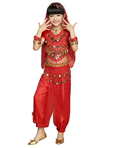 besbomig Kids Chicas Disfraz de Danza del Vientre - Niños Gasa Bonita Traje de Baile de la India Vestido de Rendimiento Set de 5 Piezas